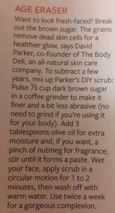 Top 10 Best Anti-Aging Facial Masks for 2017 DIY Face scrub--I used light brown sugar because thats what I had on hand but my skin still feels awesome. Diy Face Scrub, Diy Scrub, All Natural Skin Care, Organic Skin Care, Diy Skin Care, Skin Care Tips, Homemade Beauty, Diy Beauty, Beauty Secrets