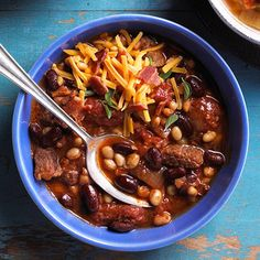 Our Winter Woods Chili recipe combines beef and bacon.