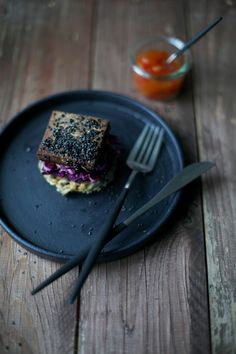 our food stories: rice-sprouts-patties with red cabbage salad and marinated tofu
