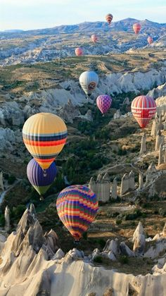 Colorful Landscape - Aerial view of Hot Air Balloons over Cappadocia, Turkey.