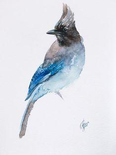 Animal Paintings, Paintings For Sale, Blue Jay Tattoo, Bluebird Tattoo, Bird Types, Bird Artwork, Bird Drawings, Watercolor Bird, Pretty Birds