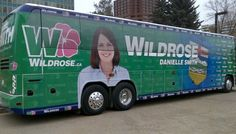 Unfortunate placement of tires for this political bus.