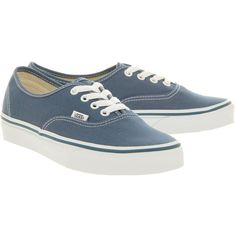 Vans Authentic ($68) ❤ liked on Polyvore featuring shoes, sneakers, sapatos, vans, zapatillas, navy, lace up sneakers, laced up shoes, vans footwear and vans trainers