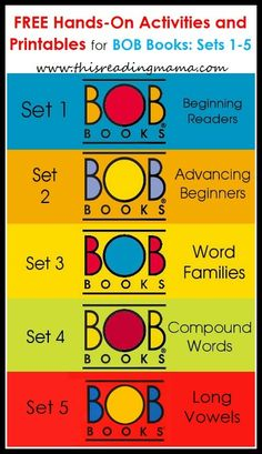 Bob Books Printables And Activities For Sets Rhyming Word Set All Free This Reading Mama Early Reading, Kids Reading, Teaching Reading, Reading Books, Guided Reading, Sight Words, Rhyming Words, Hands On Activities, Reading Activities