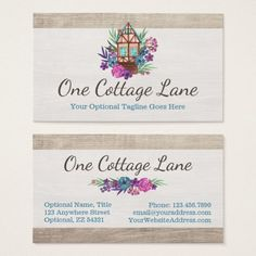 rustic cottage chic floral cabin watercolor wood business card