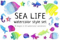 Sea life watercolor style set by KsaniaDesigner's Shop on @creativemarket