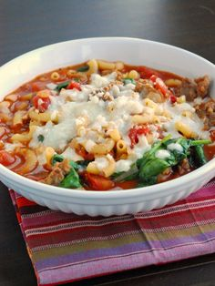Week of March 26: Macaroni Lasagna Soup-{Using gluten-free pasta} Serving with green salad w/ golden balsamic vinaigrette, raw veggies, and orange slices sprinkled with cinnamon.