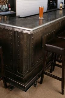 bar with rivets and pewter bartop