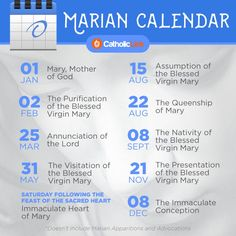 Infographic: Marian Calendar Of Feasts and Solemnities | Catholic-Link