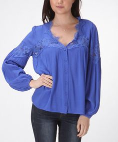This Carapace Cobalt Lace Accent Button-Up Peasant Top by Carapace is perfect! #zulilyfinds