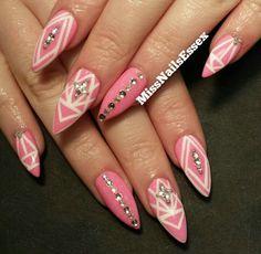 Pink and white design stiletto nails