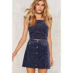 Cool It Down Velvet Corduroy Skirt ($68) ❤ liked on Polyvore featuring skirts, blue, a line corduroy skirt, button down skirt, knee length a line skirt, a line skirt and high waisted a line skirt