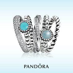Pandora stacking rings with twirl ring