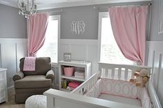 do the grey and white until baby is born and add pink for girl or blue etc for boy. Good planning if you don't want to find out sex of the baby. (or if you just want to get started with the nursery earlier!