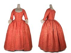 "1740s coral silk damask gown.  While Claire does not wear a ""dressy"" gown like this, this gown is a typical one for the time."