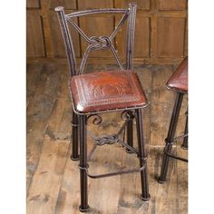 Tooled Leather Bar Stool With Back love