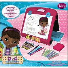 Creative kids will love this Doc McStuffins Travel Art Easel! A must have for any Doc McStuffins fan! Folds up for easy portability. Art For Kids, Crafts For Kids, Arts And Crafts, Doc Mcstuffins Toys, Sequin Crafts, Art Easel, Creative Play, Craft Party, Toy Store