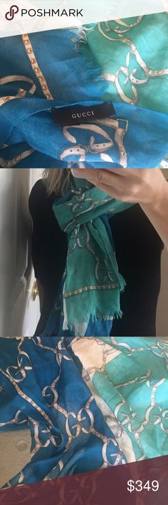 ✨Gucci Signature Monogram Silk/Wool Blend Scarf✨ Stunning Gucci signature horse bit monogram scarf! Blue and turquoise colors with gold detail pattern. Silk/wool blend with raw edges. Light and luxurious! Measurements are: 64 x 24. In fantastic condition!❤️ Gucci Accessories Scarves & Wraps