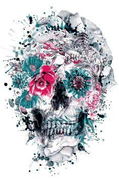 Sugar Skull Tattoos, Sugar Skull Art, Sugar Skulls, Floral Skull Tattoos, Tattoos Pinterest, Totenkopf Tattoos, Skull Illustration, Skull Wallpaper, Vintage Diy