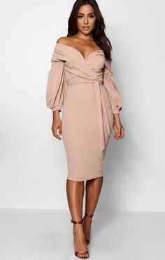 Boohoo Stone Off The Shoulder Wrap Midi Bodycon Dress - New With Tags - Size Night Outfits, Fashion Outfits, 90s Fashion, Fashion Hats, Fashion Vintage, Petite Fashion, Curvy Fashion, Modest Fashion, Fashion Clothes