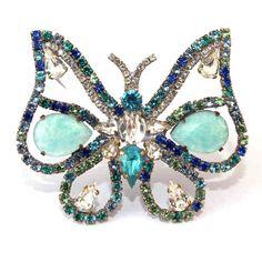 Schmetterling Strassbrosche Multicolor - Unikat aus Gablonz/Böhmen - swa551