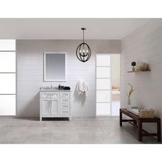 """Tahoe 36"""" Single Bathroom Vanity Set with Mirror in White"""