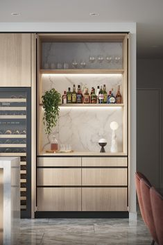 Good contrast to the table, integrated shelf lighting, integrated wine column. Don't need the pocket doors. Kitchen Room Design, Modern Kitchen Design, Interior Design Kitchen, Kitchen Decor, Modern Home Bar Designs, Wet Bar Designs, Modern Bar, Bulthaup Kitchen, Bars For Home