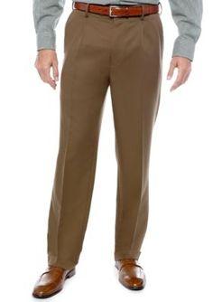 Saddlebred Mocha Big  Tall Straight Fit Pleated Wrinkle Resistant Dress Pants