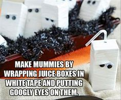 Wrap juice boxes in white tape & add googly eyes. Must remember for storytime!