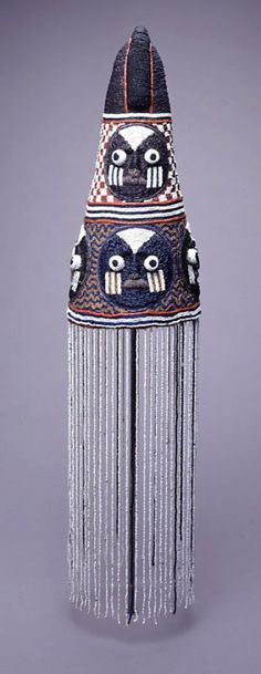 Africa | Crown ~ 'ade' ~ from the Yoruba people of Nigeria | Glass beads, cotton; Couched Beadwork, Bead Veil | Early 20th century