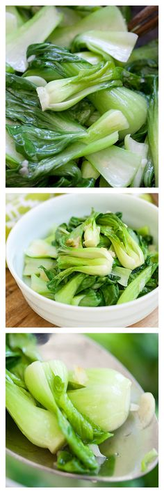 Garlic Boy Choy that takes only 10 minutes to make from prep to dinner table. Easy and healthy vegetable recipe that calls for only 3 simple ingredients | http://rasamalaysia.com
