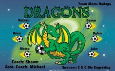 Dragons B53849  digitally printed vinyl soccer sports team banner. Made in the USA and shipped fast by BannersUSA.  You can easily create a similar banner using our Live Designer where you can manipulate ALL of the elements of ANY template.  You can change colors, add/change/remove text and graphics and resize the elements of your design, making it completely your own creation.