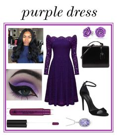 """""""Purple dress set"""" by shekb ❤ liked on Polyvore featuring Alexander Wang, Concrete Minerals, Anastasia Beverly Hills, Mark Cross and Bling Jewelry"""