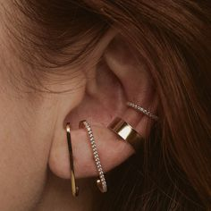 The Architect Ear Cuff is a bold, boyfriend style ear cuff - architectural and substantial in form, but easy to wear and adjust. Ear Piercings Industrial, Unique Ear Piercings, Different Ear Piercings, Types Of Ear Piercings, Ear Cuff Piercing, Ear Piercings Helix, Conch Piercing Jewelry, Silver Ear Cuff, Ear Jewelry