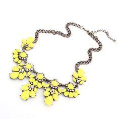 Vibrant Lemon Yellow Statement Necklace Bubble by accessoryfun, $8.99