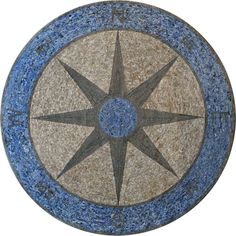 Mosaic Medallion - Nautical Mosaic Compass | Stone Art - Mosaic Art | Ideal for a Pool or for an Office Table Top | You Can Find this Beautiful Mosaic Piece at #Mozaico