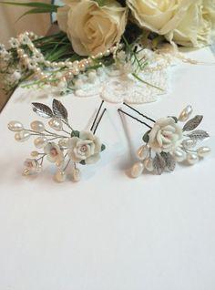 Hey, I found this really awesome Etsy listing at https://www.etsy.com/listing/242623502/bridal-hair-pins-x2-hair-pins-wedding