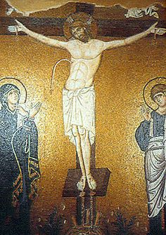 Crucifixion, mosaic, Church of the Dormition