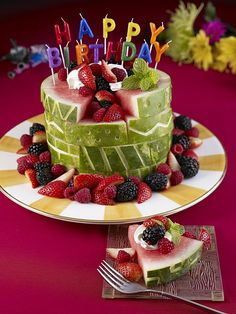 Happy Birthday with a Watermelon Birthday Cake!  See how to do it-Tutorial