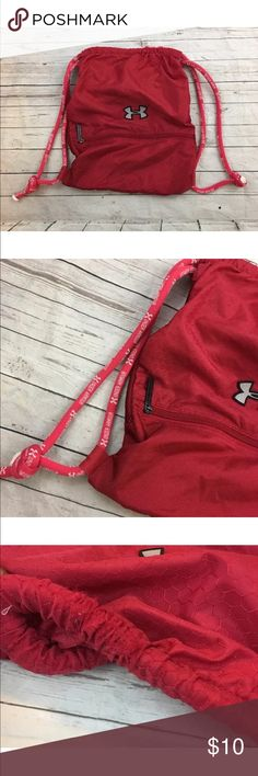 Under Armour Red Sackpack UNDER ARMOUR RED BACK PACK- DURABLE SACK PACK!!  GOOD PRE OWNED CONDITION- PLEASE SE EPICS FOR CONDITION! NO HOLES- TEARS OR ODORS- CLEAN!  THANKS FOR LOOKING! Under Armour Bags Backpacks