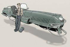 Dieselpunk hovercraft by Lipatov on @DeviantArt