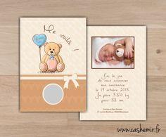 Faire-part naissance bébé original à gratter n°47 ourson : Faire-part par cashemir