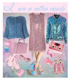 """I am a cotton candy"" by shaima-al-subaie on Polyvore featuring Topshop, Meteo by Yves Salomon, Y.R.U., Marc by Marc Jacobs, Gucci, Lazy Oaf, WithChic, Fendi, Golden Goose and Moschino"