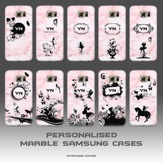 PERSONALISED MARBLE PINK ROSE PHONE CASES COVERS SAMSUNG GALAXY S6 EDGE S7 EDGE!