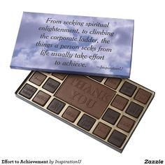 Effort to Achievement 45 Piece Box Of Chocolates - $39.95 - Effort to Achievement 45 Piece Box Of Chocolates - by #RGebbiePhoto @ #zazzle - #InspirationU #Quotes #Achieve - From seeking spiritual enlightenment, to climbing the corporate ladder, the things a person seeks from life usually take effort to achieve. This is a quote by RGebbiePhoto, and presented here in our store at InspirationU. These words are set against a cloud covered sky.