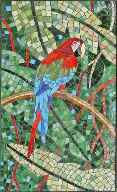 Tropical stained glass mosaic of macaw parrot; handmade original.