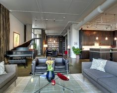 Grand #piano in an open plan #loft #space. How awesome!