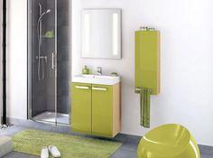 habille de vert goyave cette srie de meubles de faible profondeur est parfaite pour les petits - Une Salle De Bain Est Equipee Dune Vasque