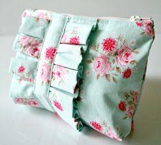 Tilda cosmetics bag make up blue pink and white rose fabric