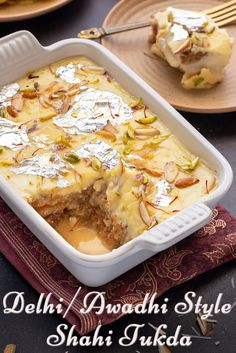 Close up shot of Shahi Tukda in ceramic dish with a cut showing the layers within Milk Recipes, Coffee Recipes, Kitchen Recipes, Sweet Recipes, Snack Recipes, Cooking Recipes, Bean Recipes, Turkey Recipes, Soup Recipes